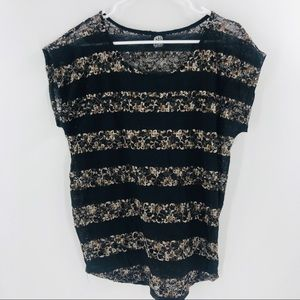 Bobeau Tan and Black Strip Lace Top Size S 027